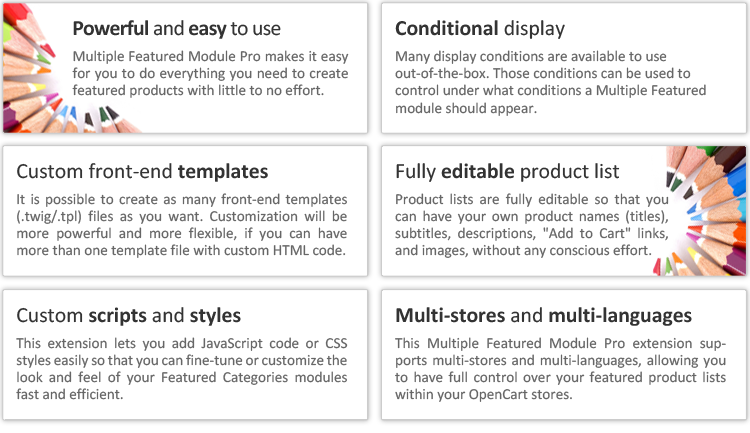 OpenCart - Multiple Featured Module Pro - UNLIMITED Featured Products
